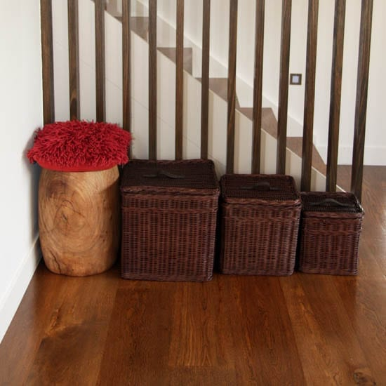 Satara Set of 3 Square Baskets Brown