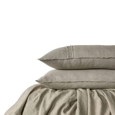Satara Linen Duvet Set Natural Queen