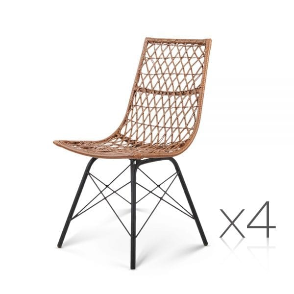 Georgia Wicker Dining Chairs - Natural 4