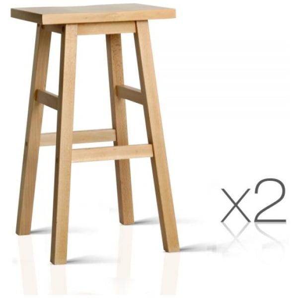 2 Wooden Backless Bar Stools - Natural