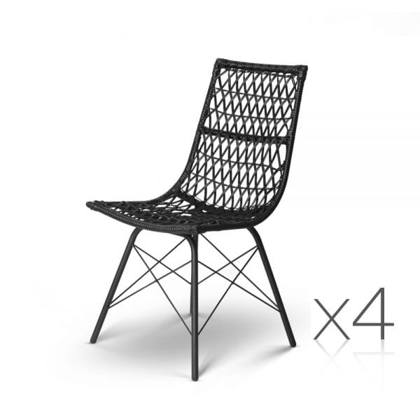 Wicker Dining Chair - Black 4