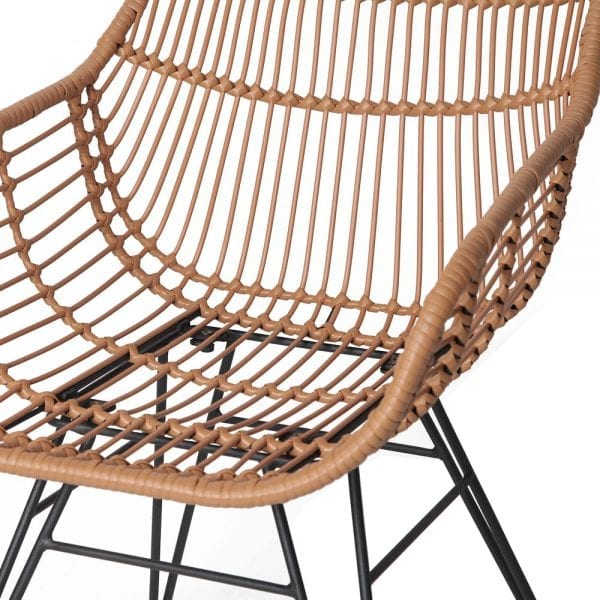 Set of 2 PE Wicker Dining Chair - Natural