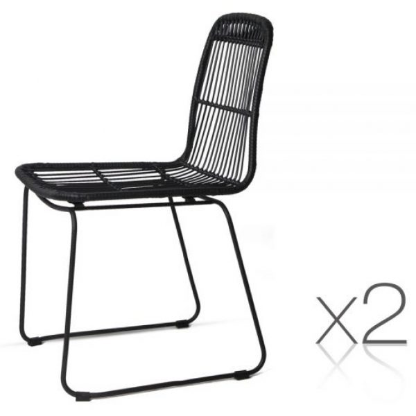 Wicker Dining Chair - Black 2