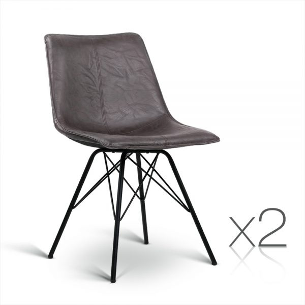 2 Leather Dining Chair - Walnut