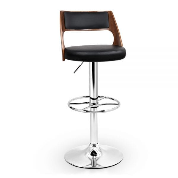 Leather Gas Lift Bar Stool - Black