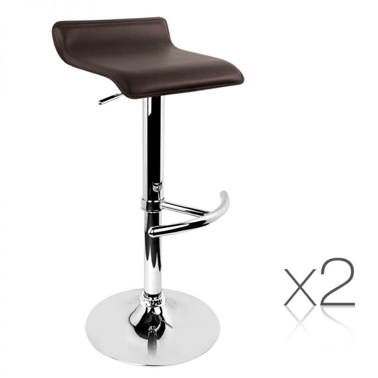 Olly Leather Bar Stools - Chocolate 2 Set