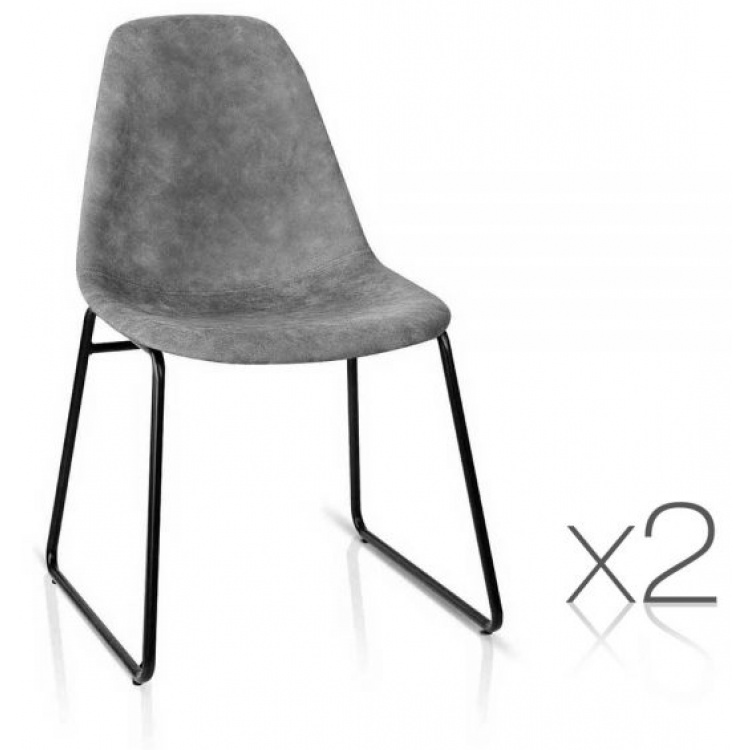 Set of 2 PU Leather Dining Chair - Grey