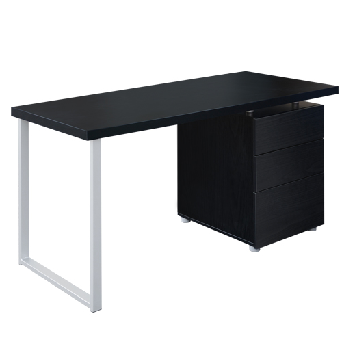 Karen Metal Desk with 3 Drawers - Black