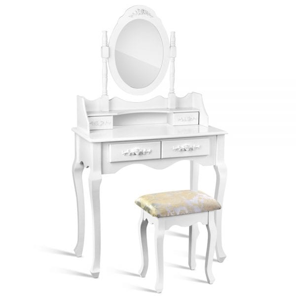 Artiss Provincial Dressing Table with Stool - White