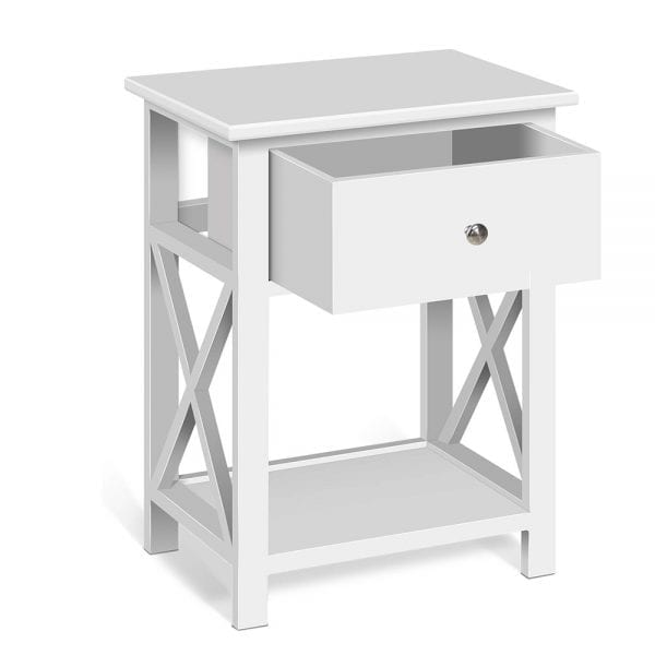 Artiss Rustic Bedside Table - White