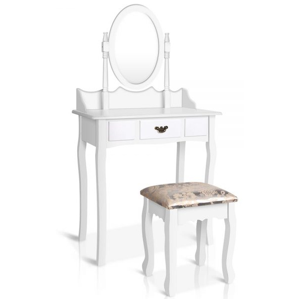 Single Drawer Dressing Table with Mirror - White