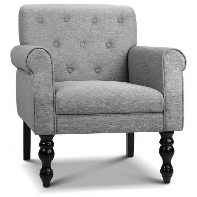Wingback Fabric Accent Armchair - Grey