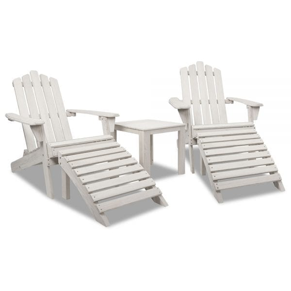 Gardeon 5 Piece Outdoor Wooden Adirondack Chair and Table Set - Beige White