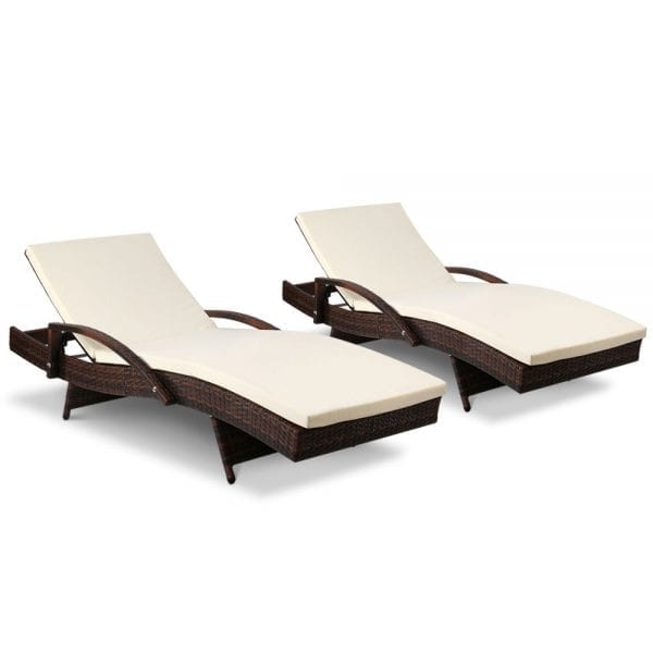 Gardeon Outdoor Sun Lounge Chair with Cushion - Brown