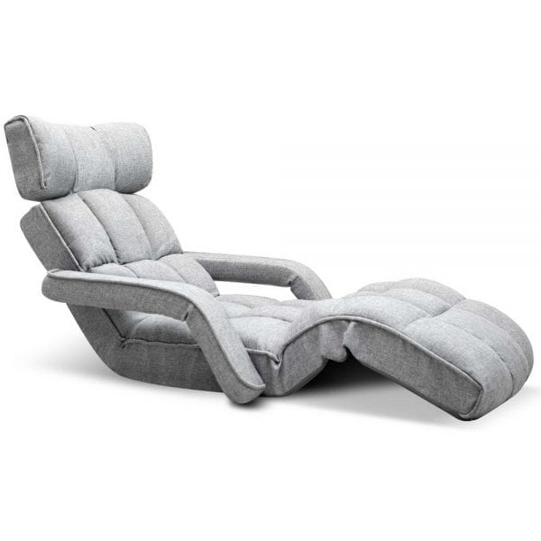 Adjustable Lounger with Arms - Grey