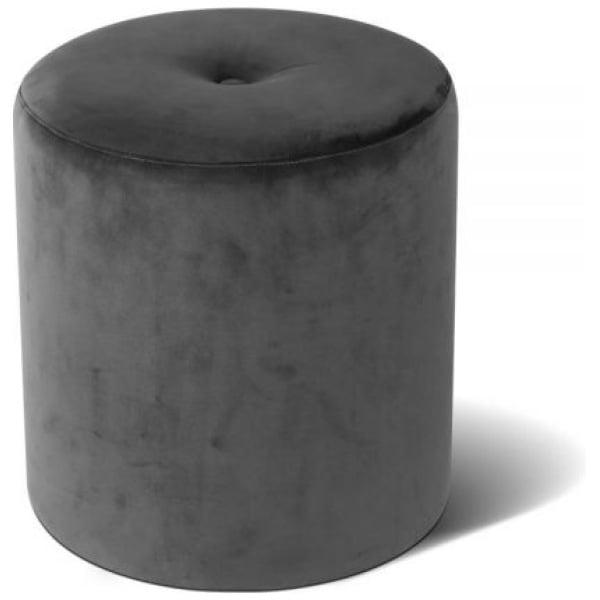 Round Velvet Ottoman - Grey