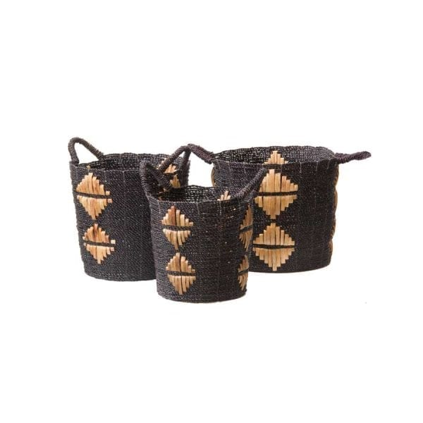 Satara Motif Baskets Black