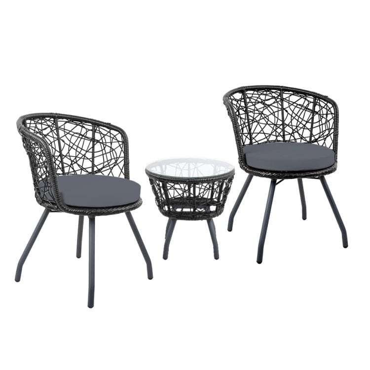 Outdoor Patio Chair and Table - Black