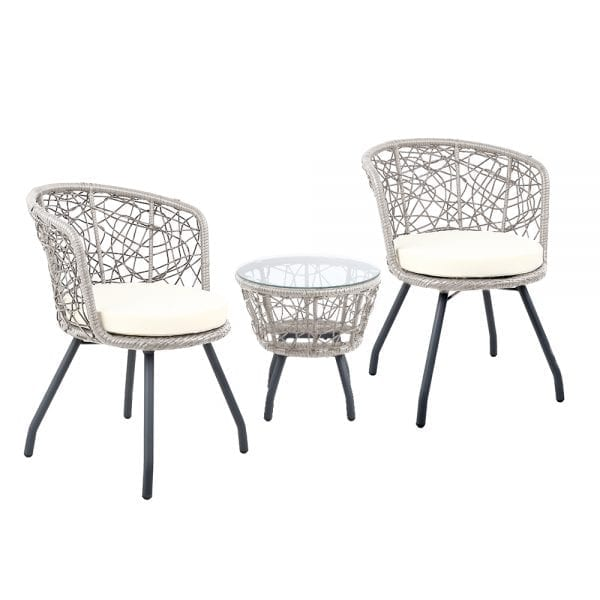 Outdoor Patio Chair and Table Grey