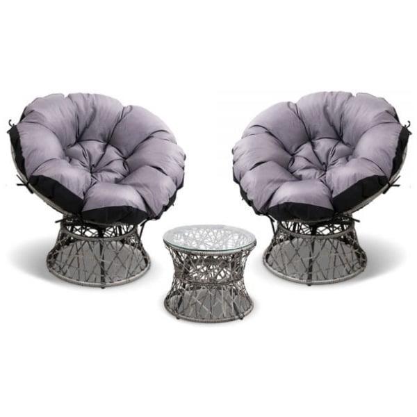 Papasan Chair and Side Table Set- Grey