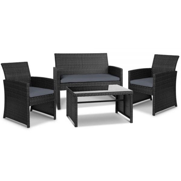 Gardeon Set of 4 Outdoor Rattan Chairs & Table - Black