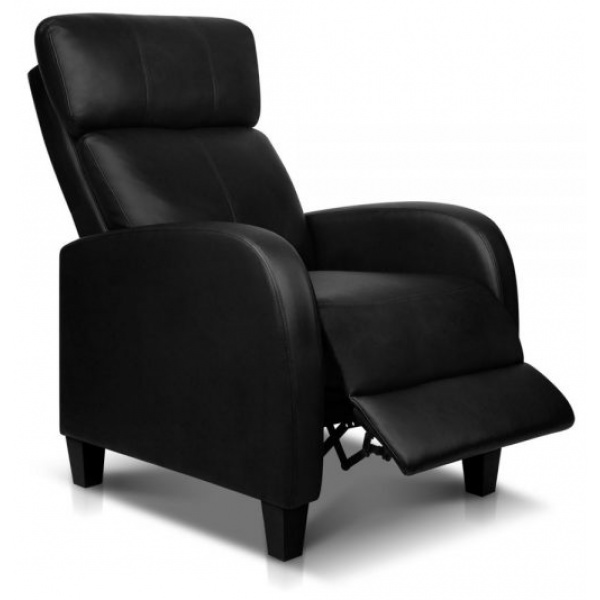 Artiss Leather Reclining Armchair - Black
