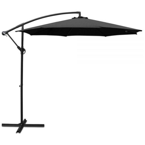 Instahut 3M Cantilevered Outdoor Umbrella - Black