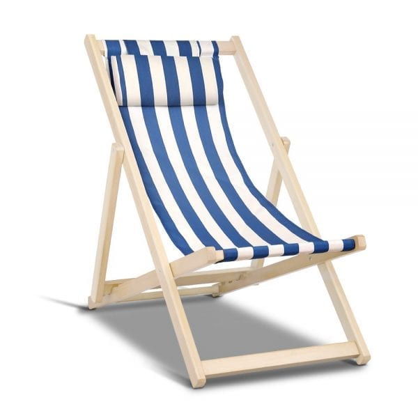 Foldable Beach Sling Chair Blue & White