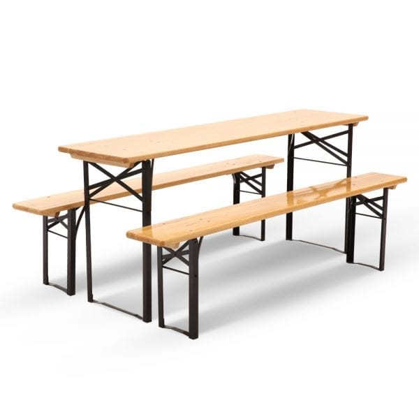 Artiss Wooden Outdoor Foldable Bench Set - Natural