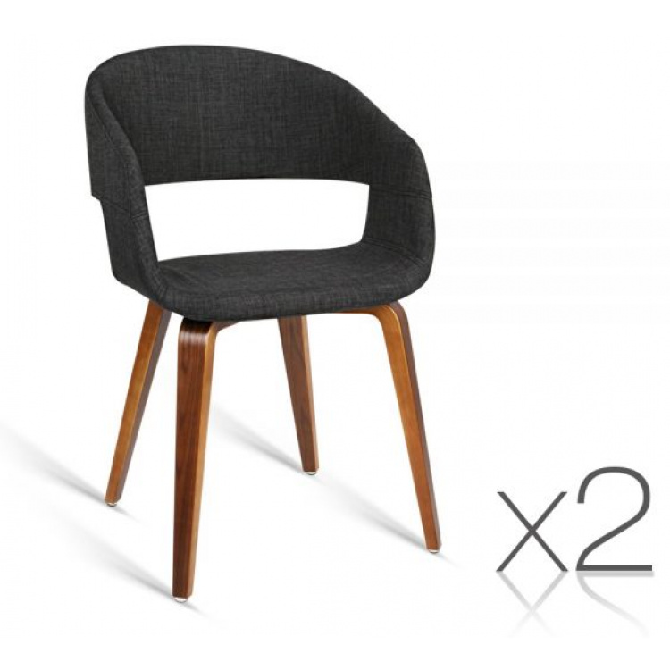 Set of 2 Timber Wood and Fabric Dining Chairs - Charcoal
