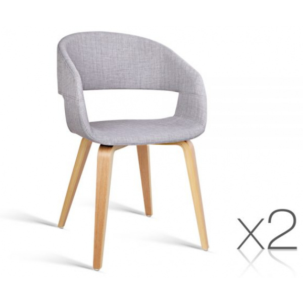 Artiss Timber Wood and Fabric Dining Chairs | Light Grey | Artiss