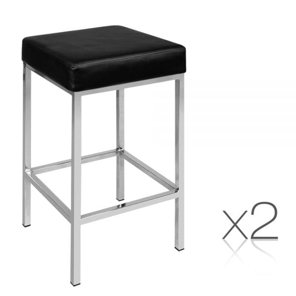 Oriana Backless Bar Stools - Black 2 Set