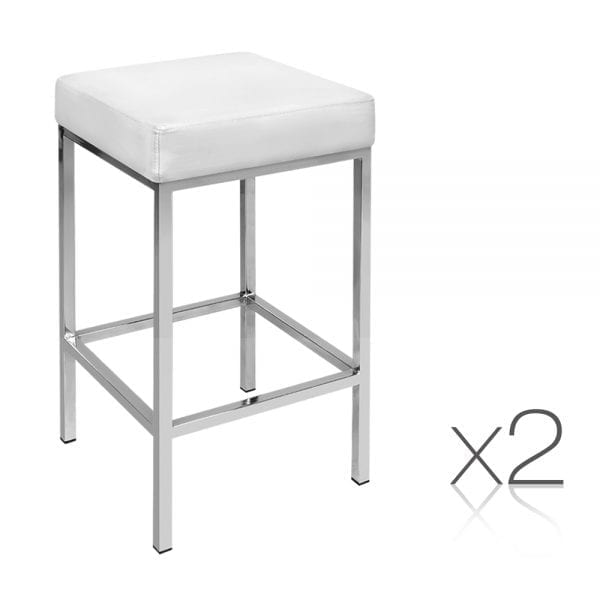 Artiss Set of 2 Leather Backless Bar Stools - White