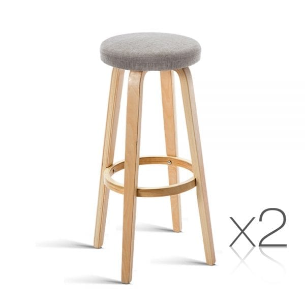 2 Wooden Bar Stools Taupe