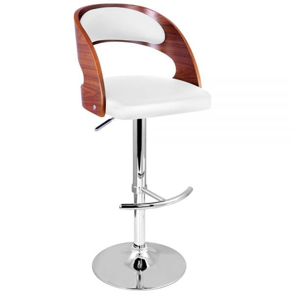 Toby Wooden Gas Lift Bar Stools - White 2 Set