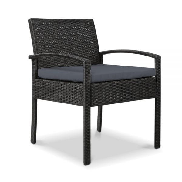 Outdoor Furniture Bistro Wicker Chair Black
