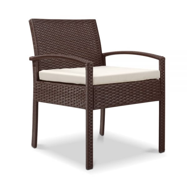 Outdoor Furniture Bistro Wicker Chair Brown