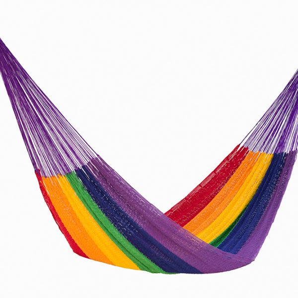 Queen Size Outdoor Cotton Hammock in Rainbow
