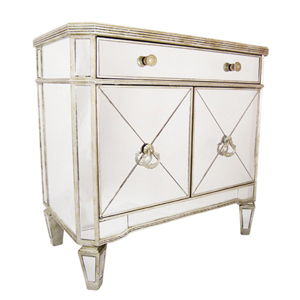 Mirrored 1 Drawer 2 Door Cabinet Antique Ribbed