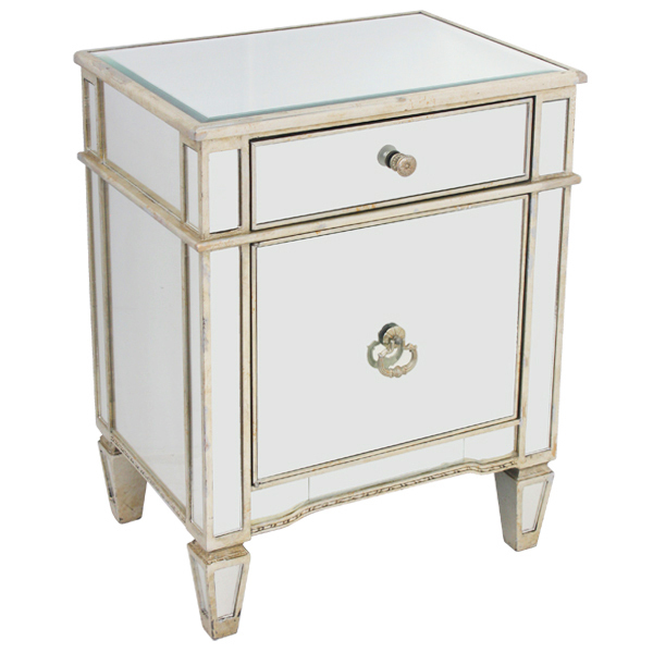 Mirrored Bedside Cabinet Antique