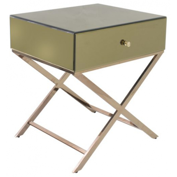 Whitney Crossed Mirrored Bedside Champagne