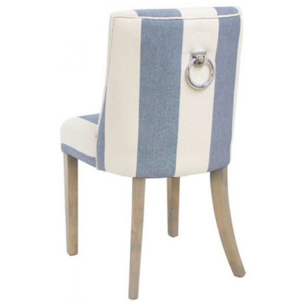 Ophelia Dining Chair Blue and White Wide Stripe