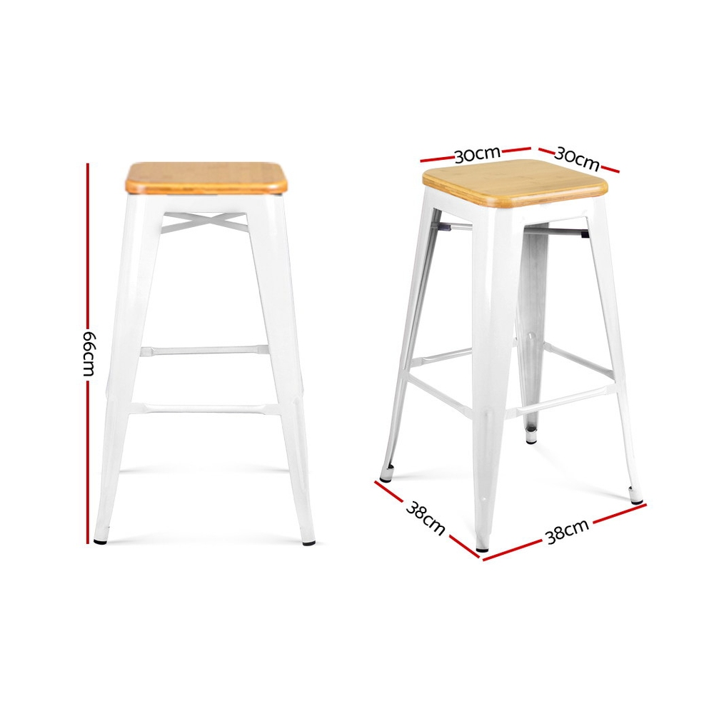 2 Metal and Bamboo Bar Stools - White