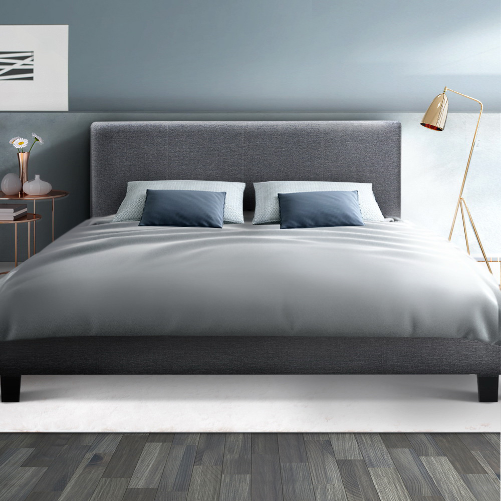 Double Bed Frame Grey Frabric
