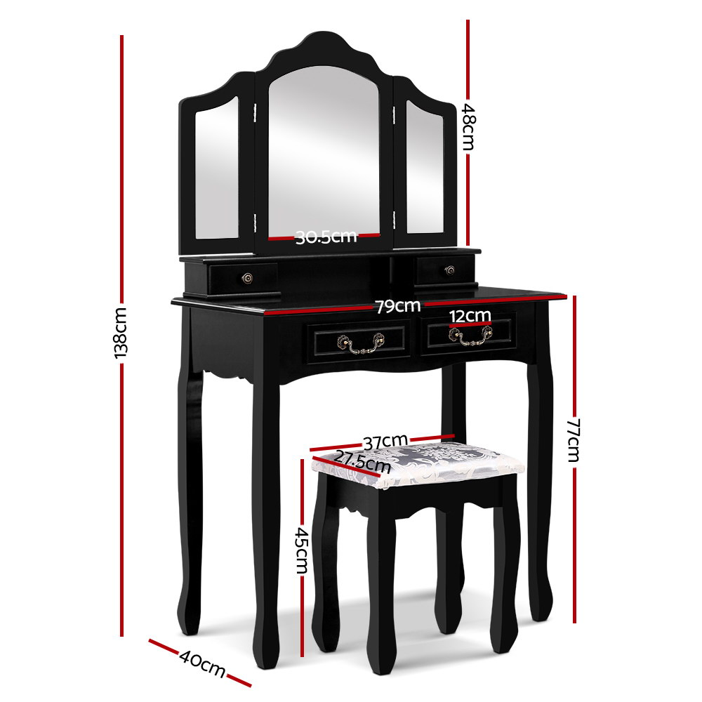 Dressing Table with Mirror - Black