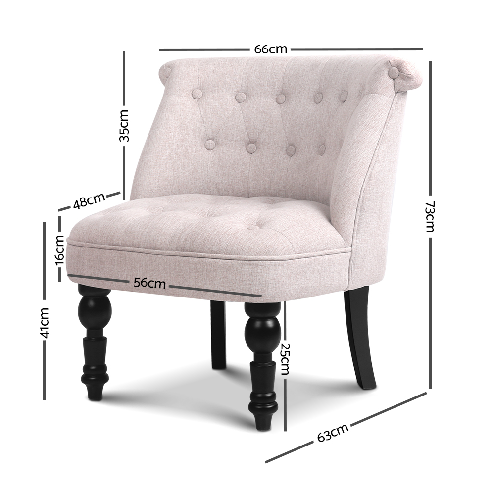 French Provincial Lounge Chair Beige