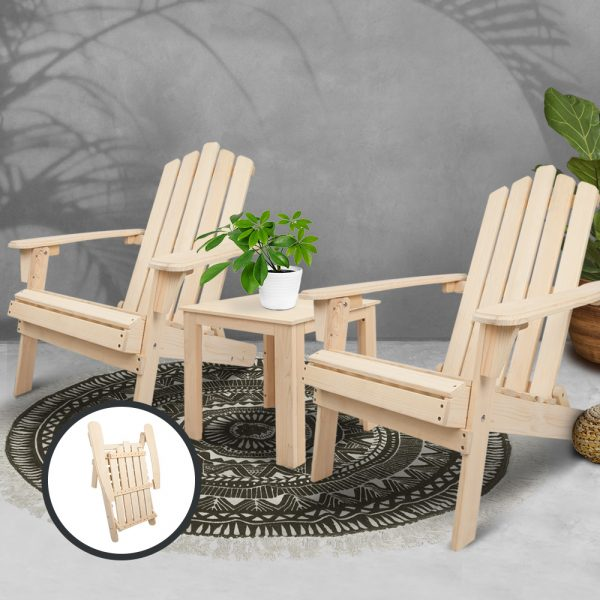 3 Piece Wooden Outdoor Beach Chair and Table Set