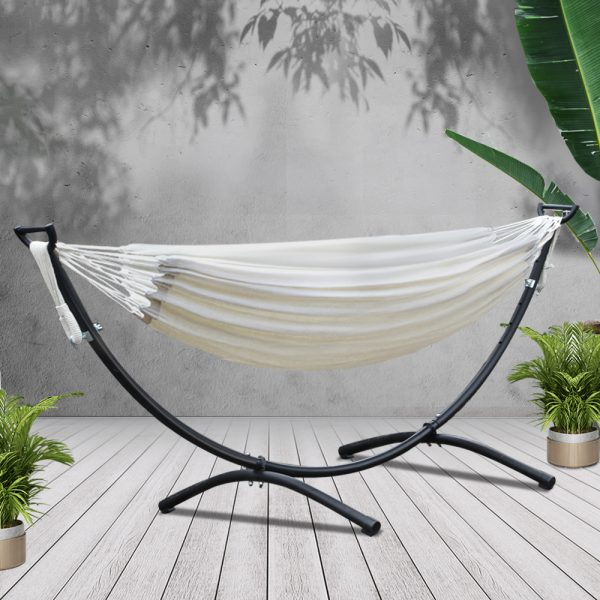 Hammock Bed with Steel Frame Stand Cream