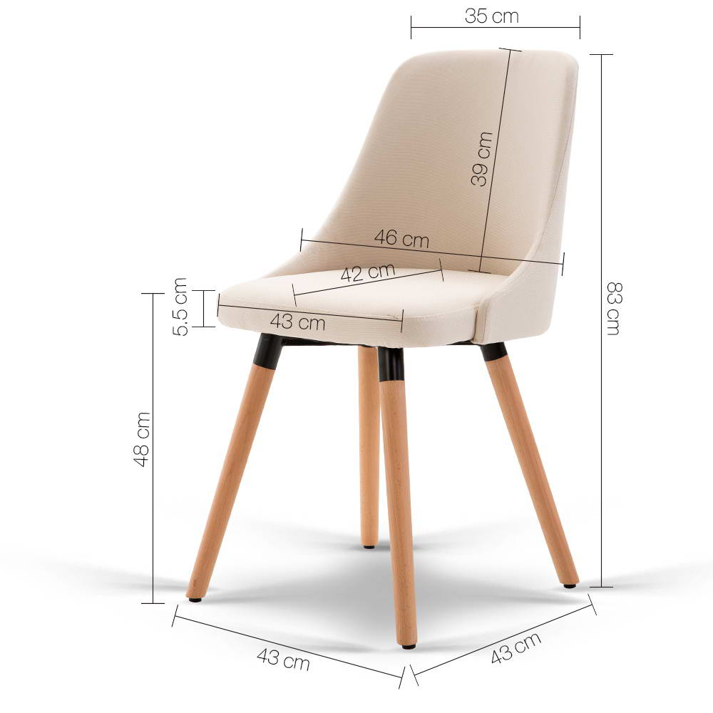 2 Chelsea Dining Chairs Beige