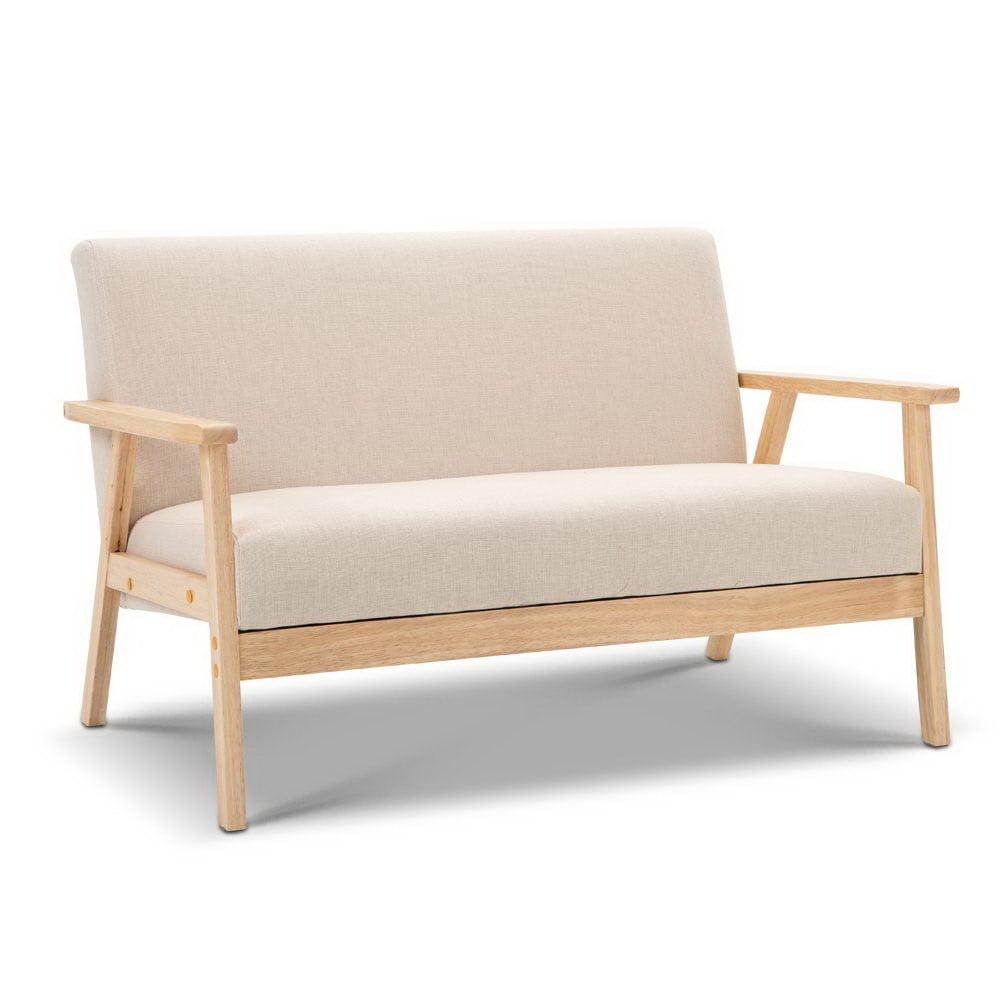 Ben 2 Seater Fabric Sofa Chair Beige